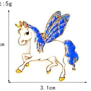 5/$24 Blue Mane Unicorn Pin Brooch